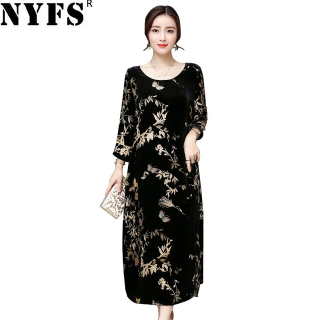 NYFS 2020 Nuovo Stile di Autunno Delle Donne di Modo del vestito elegante atmosfera Vestito lungo Abiti Robe