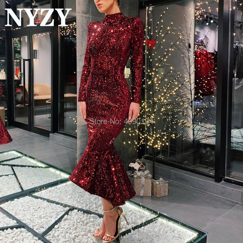 Sequins Burgundy Cocktail Dresses NYZY C189 Mermaid Long Sleeves Evening Dress Short Prom Dress Party Homecoming Graduation