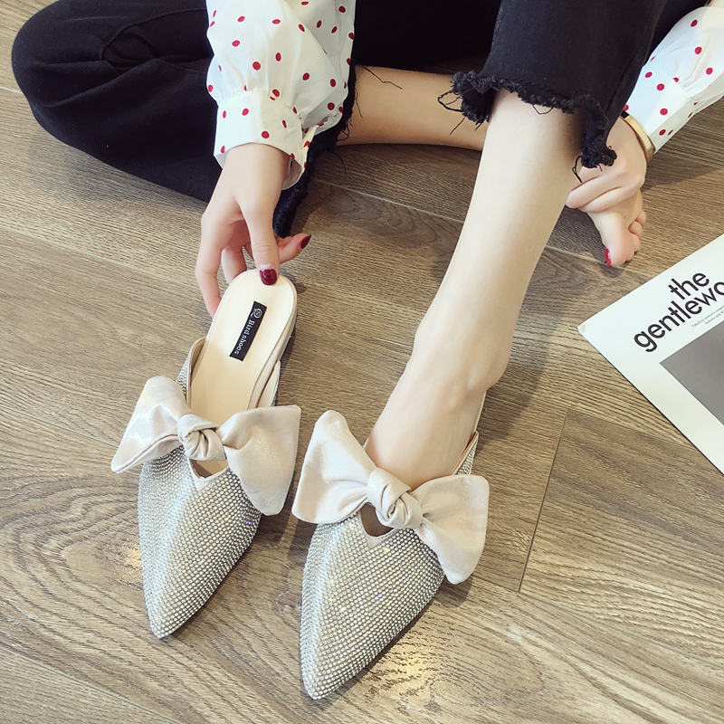 Pointed toe slippers crystal bowknot shoes woman low heels anti-skid slides shallow mules casual flipflops cute femme summer new 8