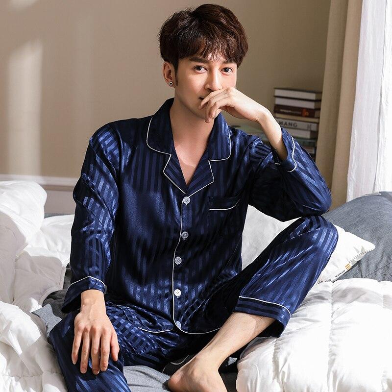 Brand Spring Autumn Long Striped Men's Imitate Silk Pajamas Set Cardigan Sleepwear Plus Size L-3XL Male Homewear Fashion Clothes