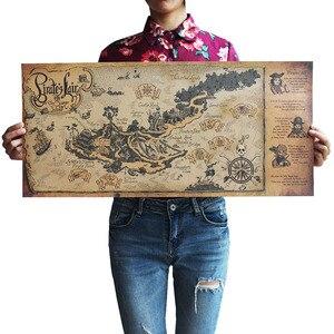 Image 1 - Autocollants muraux avec carte du monde, artisanat rétro, en bateau, 72x33 cm, décoration antique de Bar, peinture