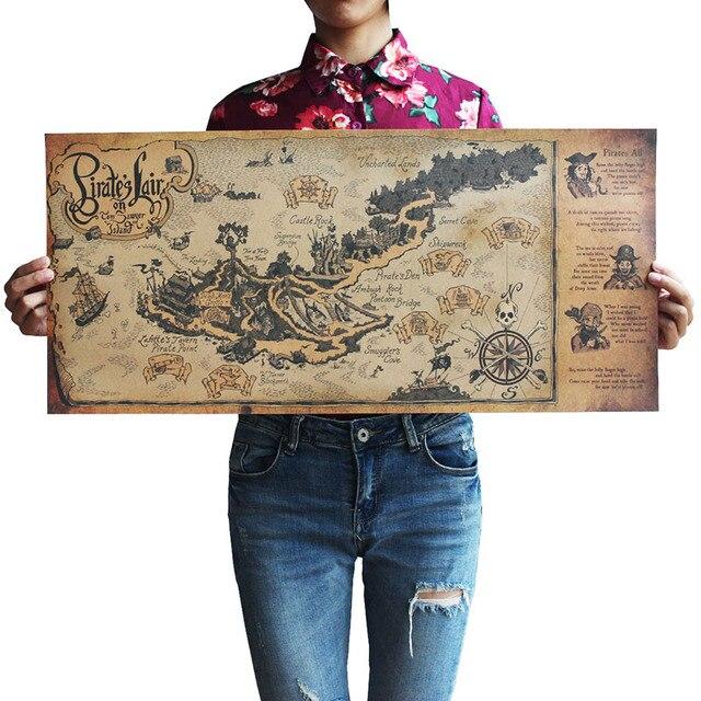 Autocollants muraux avec carte du monde, artisanat rétro, en bateau, 72x33 cm, décoration antique de Bar, peinture