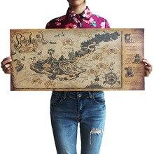 Retro Craft Pirate Zeilboot Wereldkaart Poster Muurstickers Woonkamer Verf Bar Cafe Decoratie Oude 72*33 Centimeter