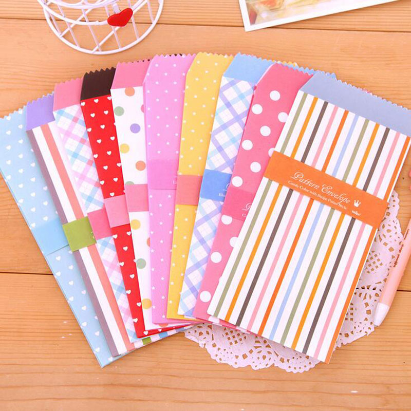 M59 10PCS Sweet Dots Striped Fresh Paper Envelope Creative DIY Tool Greeting Card Cover Scrapbooking Gift