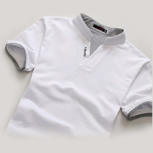Classic Men Stand Collar T Shirt Short Sleeve Tee T-shirt Solid Color M-XXXL Free shipping Wholesale 8
