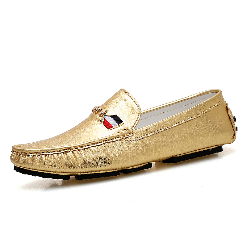 ФОТО spring summer slip-on solid casual shoes gold silver color microfiber loafers man tenis masculino esportivo flats shoes mans