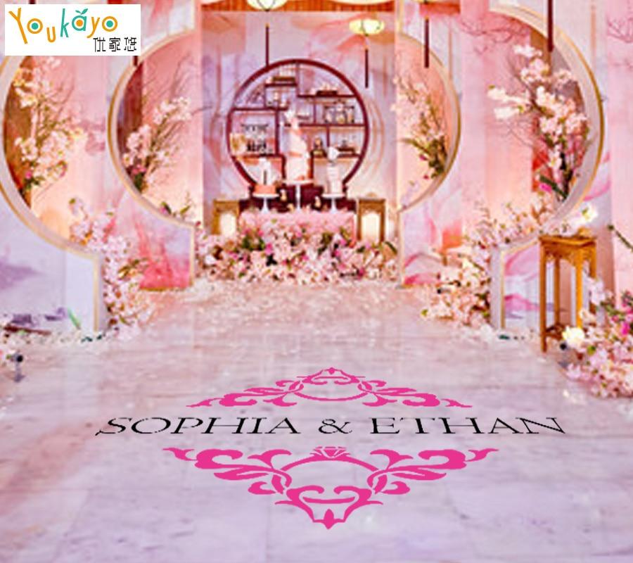 Wedding Floor Stickers Personalised BRIDE GROOM name Available Vinyl Removable Wedding Floor Monogram Decoration Decal