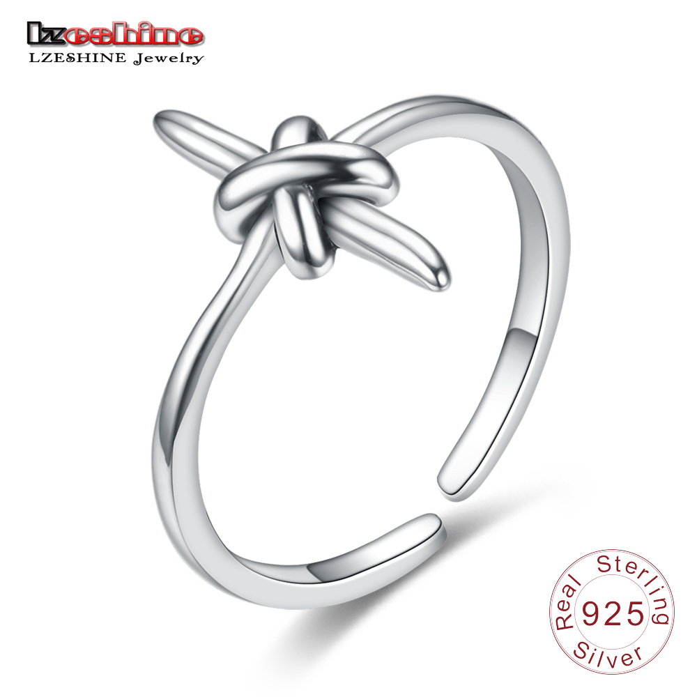 LZESHINE Punk S925 Sterling Silver Personality Cross Ring For Women Adjustable Size Silver Finger Ring Vintage Jewelry Gift