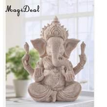 MagiDeal 2018 nowa tajlandia Fengshui słoń statua Hue piaskowiec Ganesha rzeźba buddy Handmade figurka