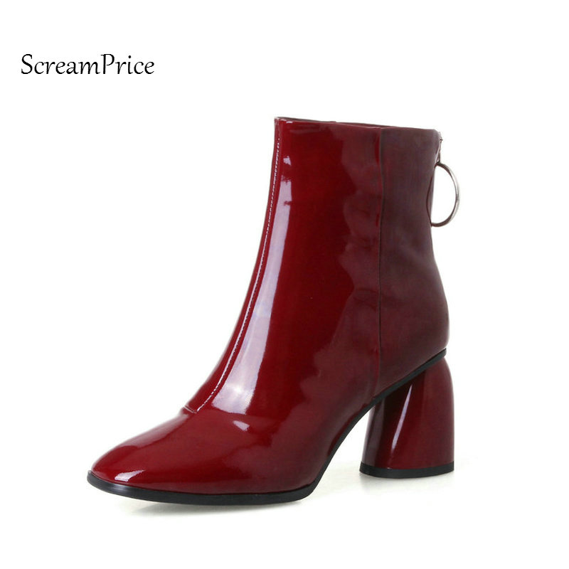 Woman Genuine Leather Hoof Heels Back Zipper Ankle Boots Fashion Sqaure Toe Dress Boots Short Plush Winter Boots Black Wine Red black 2016 wine red navy blue cashmere genuine leather round toe shallow mouth ultra high heels female boots female