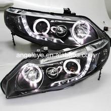 Фара для Honda для Civic 2006-2010 года светодиодный головной фонарь с ангельскими глазами черный корпус LF