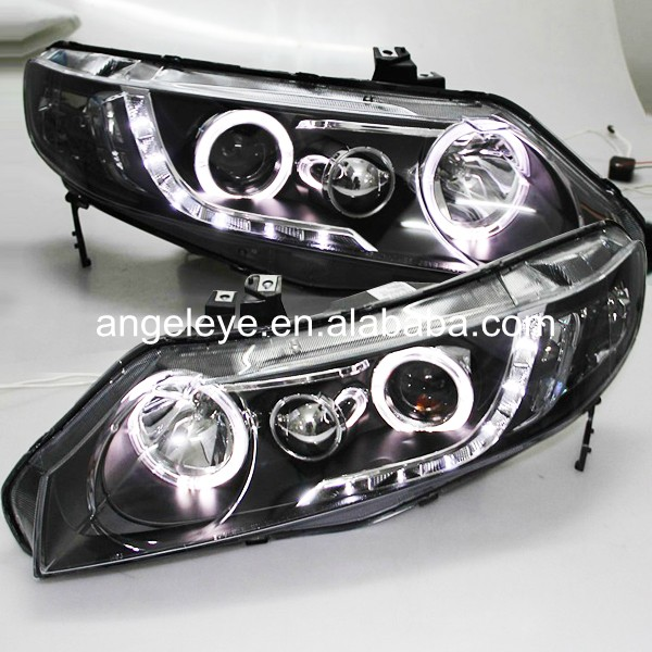 Headlight For Honda for Civic 2006-2010 year LED Angel Eyes Head Lamp Black Housing LF цена 2017