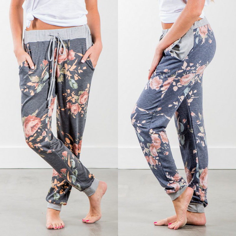 Summer 2018 Women Chiffon   Pants   Casual Loose Ankle-Length Floral Print Chiffon   Wide     Leg     Pants