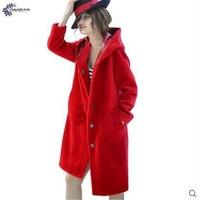 TNLNZHYN Winter New Women Clothing Warm Fake Fur Coat Big Yards Thicken Long Sleeved Hooded Long
