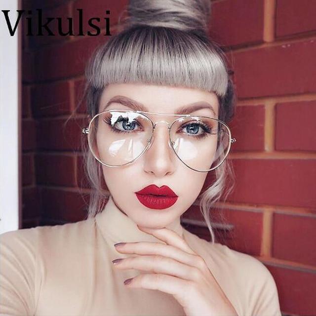 2017 Novos Óculos De Aviador Mulheres Óculos Clássico Rose Gold Metal  Homens Vidros Ópticos Enquadrar Óculos b1d45b1391