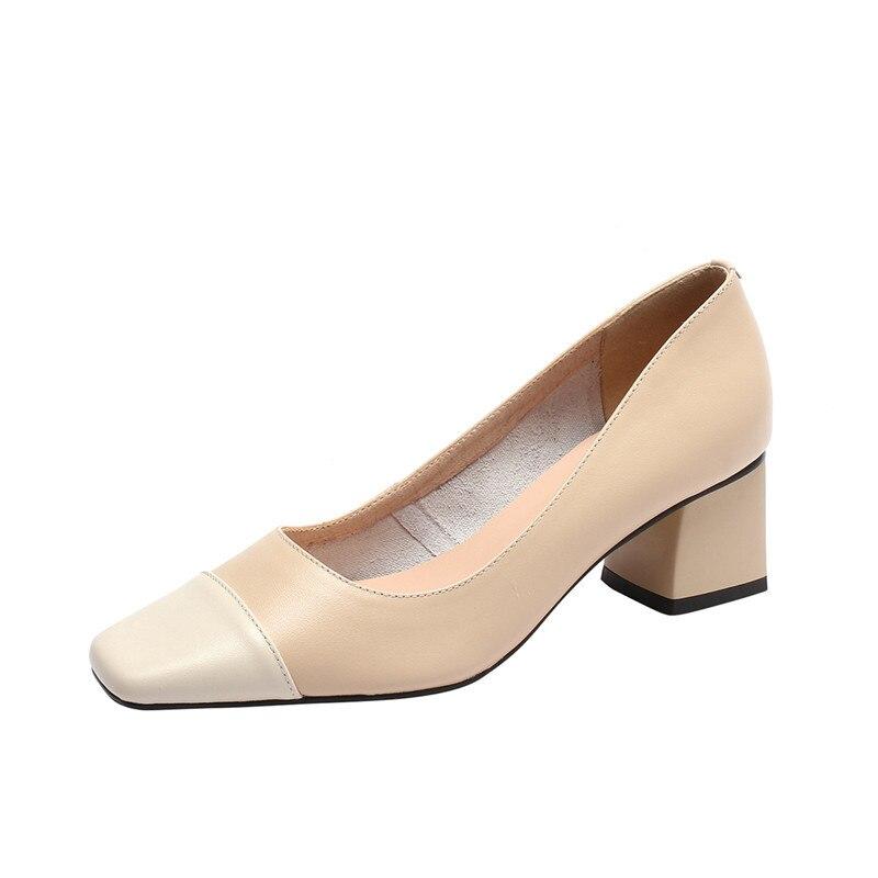 봄 가을 누드 브라운 블랙 컬러 블록 부드러운 양 피부 광장 발가락 여성 레이디 6 cm 발 친화적 인 발 뒤꿈치 정품 자연 shooes-에서여성용 펌프부터 신발 의  그룹 1