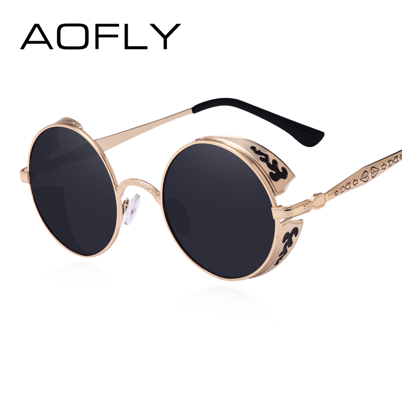 AOFLY Steampunk Vintage Sonnenbrille Mode runde sonnenbrille frauen marke designer metall carving sonnenbrille männer oculos de sol S1635