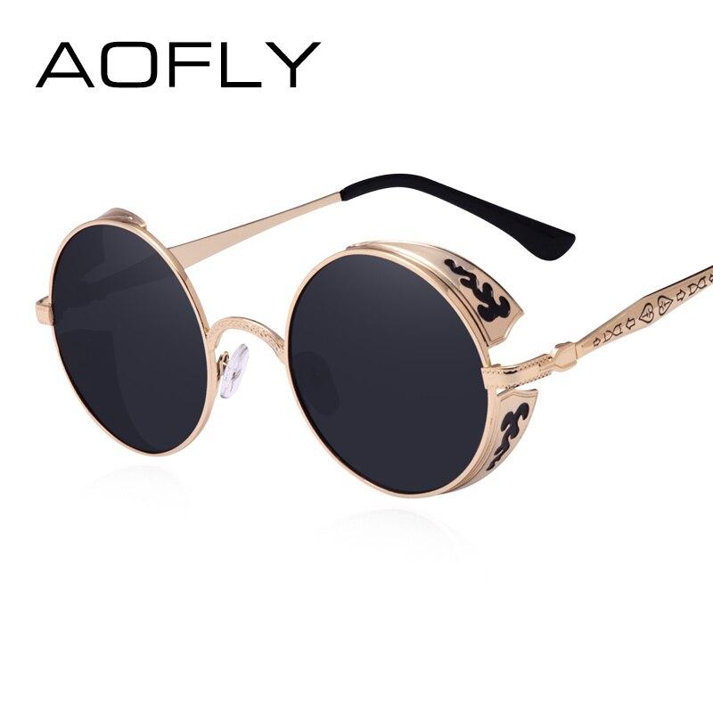 AOFLY Steampunk Vintage Sunglass Fashion round sunglasses women brand designer metal carving sun glasses men oculos de sol S1635