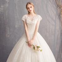 Wedding dress 2019 new word shoulder wedding dress bride court was thin large size simple landing wedding dress