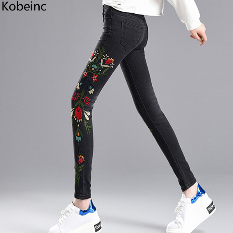 Kobeinc Embroideried Pencil Jeans for Women High Waist Skinny Denim Pants Plus Size Ankle-Length Pantalones Stretch Jeans Female rosicil new women jeans low waist stretch ankle length slim pencil pants fashion female jeans plus size jeans femme 2017 tsl049