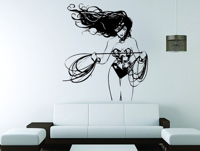 Wall Decal Vinyl Sticker Dc Super Hero Wonder Woman Wall Mural For
