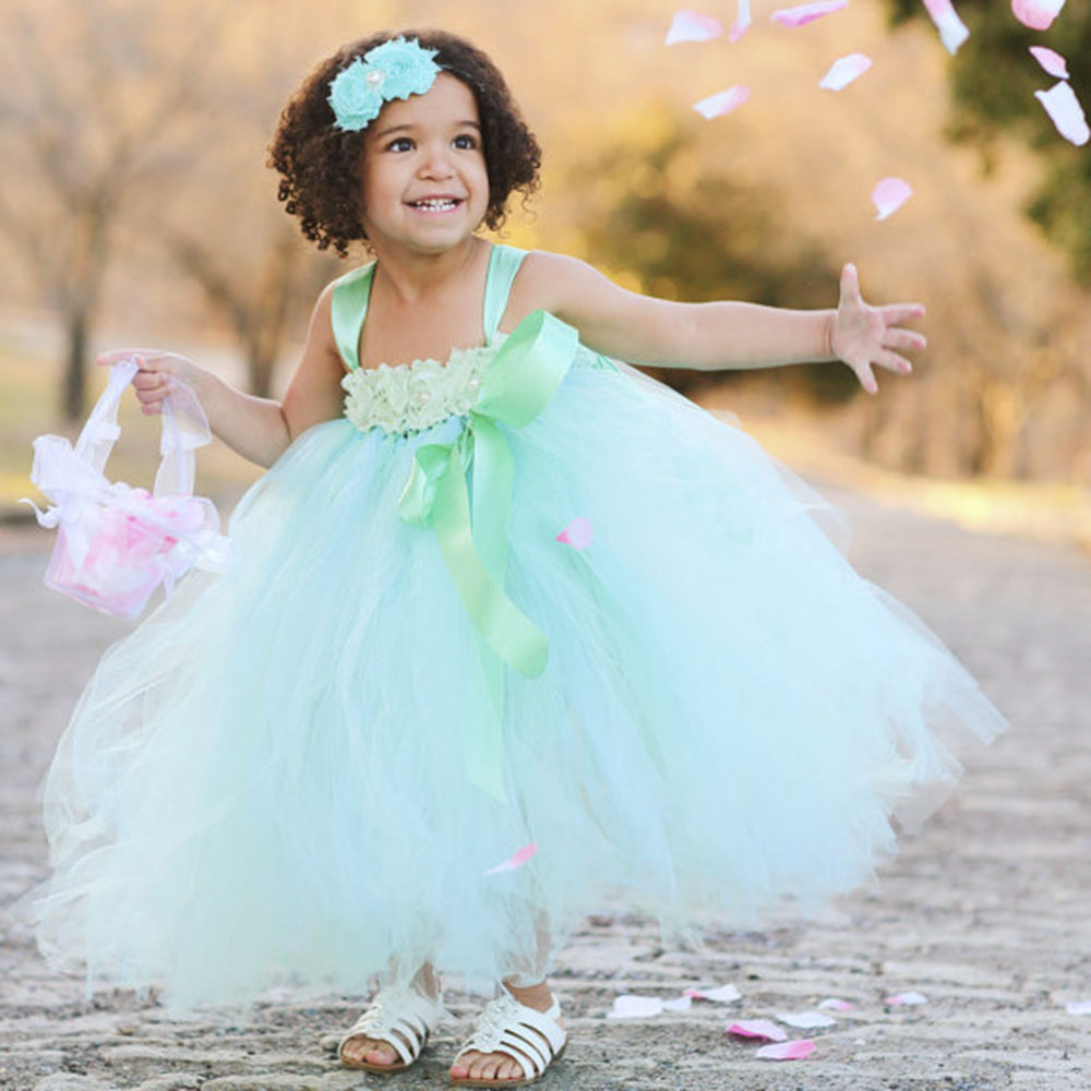 Princess Mint Green Flower Girl Dress with Shabby Flower headband ...