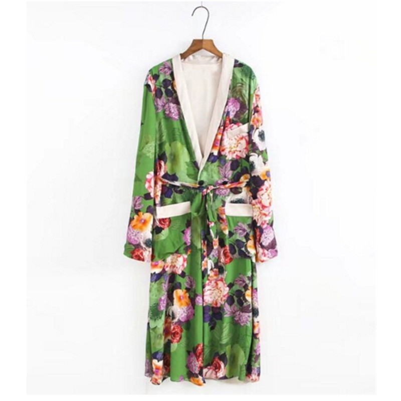 Women Ethnic Flower Print With Sashes Kimono Shirt Retro New Bandage Cardigan Blouse Tops Blusas Chemise Femme Blusa High Quality Materials Women's Clothing