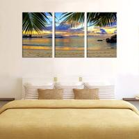 Tropic Beach Sunset with Palm Tree Leaves Landscape Picture Living Room Wall Decor Coast Sunset Painting Canvas Prints Wholesale