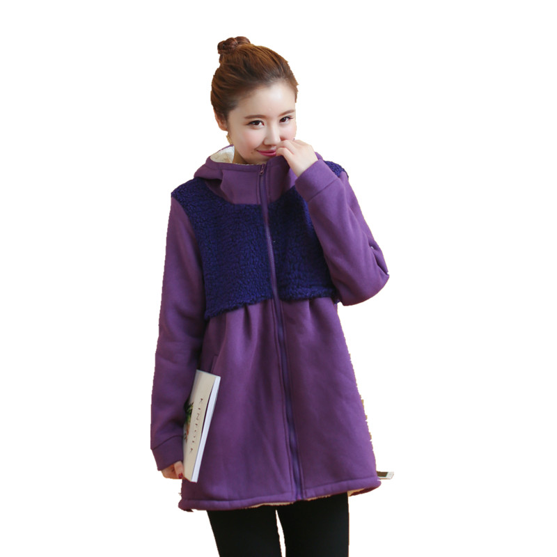 Plus Velvet Winter Maternity Outerwear Women's Coat for Pregnant Plus Size Clothing Outwear Sweatshirts for Pregnant Women C351 side bowknot embellished plus size sweatshirts page 3