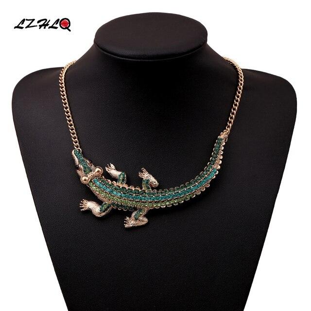 11d9d669934 LZHLQ Baroque Full Rhinestones Luxurious Big Crocodile Statement Necklace  Women Personality Statement Style Necklaces Pendants