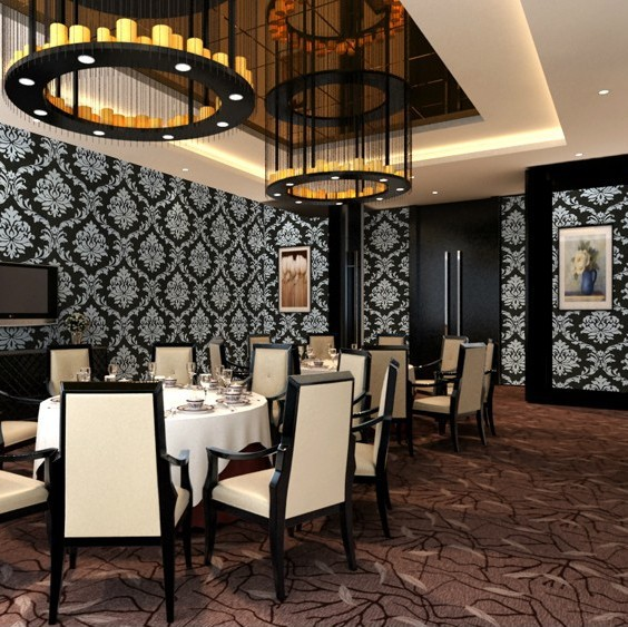 Luxury Classic Living Rooms: Modern PVC Black White Damask Wallpaper ROll For Wall