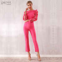 ADYCE Celebrity Runway Jumpsuits For Women 2019 Summer Sexy Rose Red Lace Hollow Out Long Jumpsuit Sexy Bodycon Club Jumpsuits