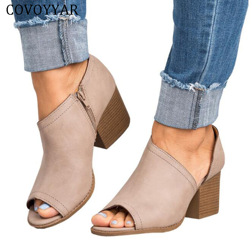 COVOYYAR 2018 Spring Fall Women Ankle Boots Peep Toe Block Thick High Heel Sandals Pumps Vintage Lady Shoes Plus Size WBS405 timesize women clear heel transparent boots peep toe ankle boots bootie perspex lucite summer shoes sandals block heel pumps