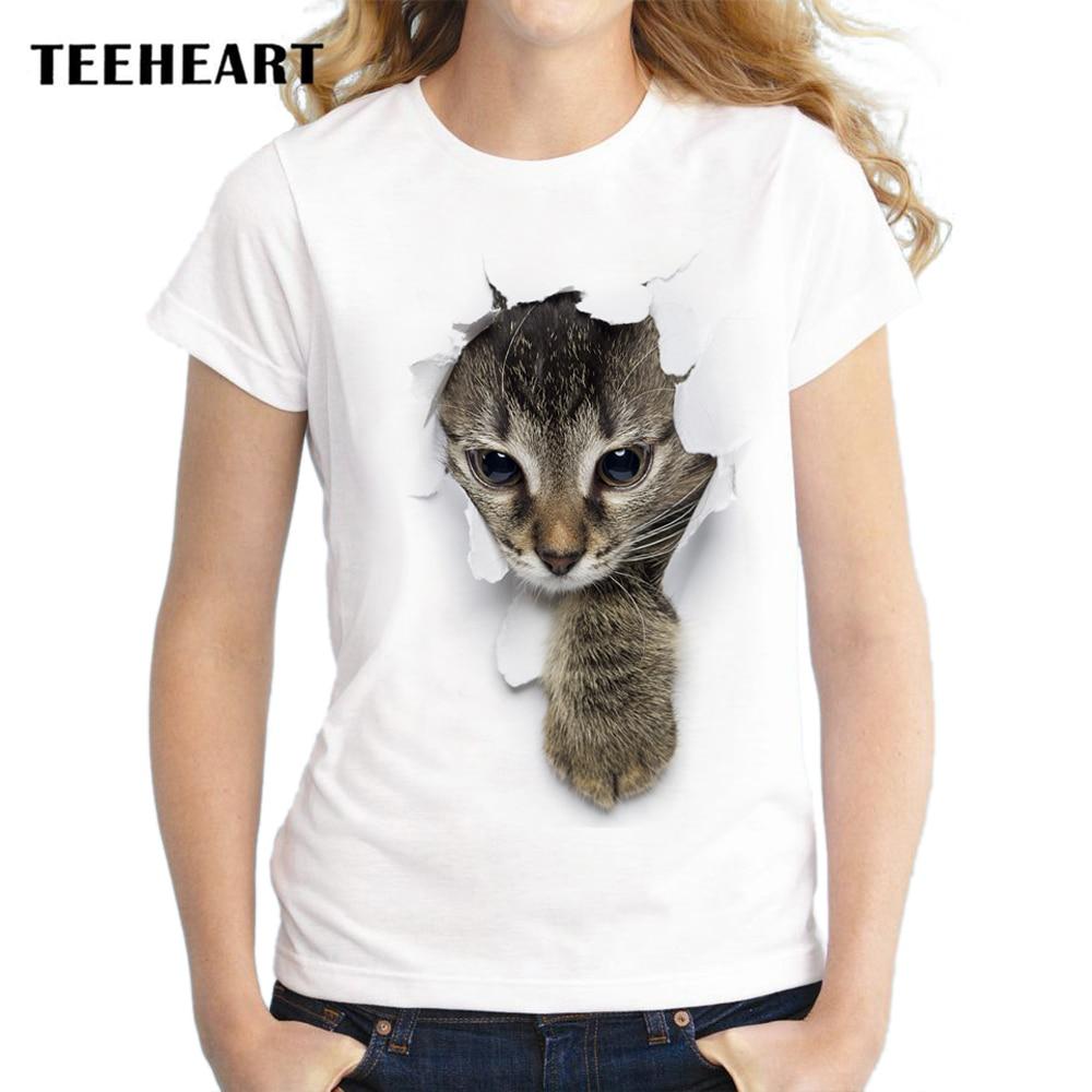 TEEHEART 2017 Summer Naughty Cat 3D Lovely T Shirt Women Printing Originality O-Neck Short Sleeve T-shirt Tops Tee za056