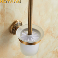 Antique Brass Color Wall Mounted Solid Aluminium Made Anti Rust Toilet Brush Holder For Bathroom Accessories Set Bath Products