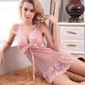 sexy women nightwear mini nightgowns tempatation deep v straps skirts free shipping summer style 2017 real G-string sleepwear