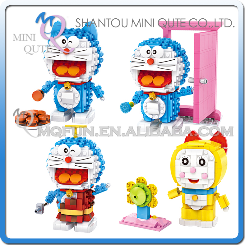 Mini Qute Kawaii loz 4 style Ancient Anime Doraemon Dorami cartoon diamond block plastic building block educational toy