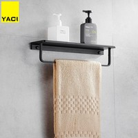 YACI Towel rack Black us style bathroom towel shelf bath bathroom rack bathroom towel holder black Double towel shelf