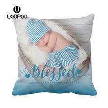 0fec6875d Funda de cojín personalizado del nacimiento del bebé foto funda de almohada  niño y niña rosa
