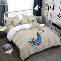 2018 Blue Peacock Comforter Cover Luxury Feather Bedding Set Twin Full Queen King Size Duvet Cover Set Bedsheet Set Pillow Cover