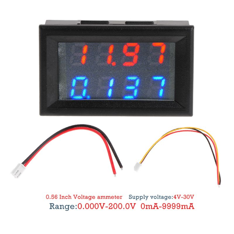 0.28 Digital DC 200V 10A Voltmeter Ammeter 4 Digit 5 Wire Voltage Current Meter 5pcs dc 6 12v measuring range 2 wire connect red led digit voltmeter