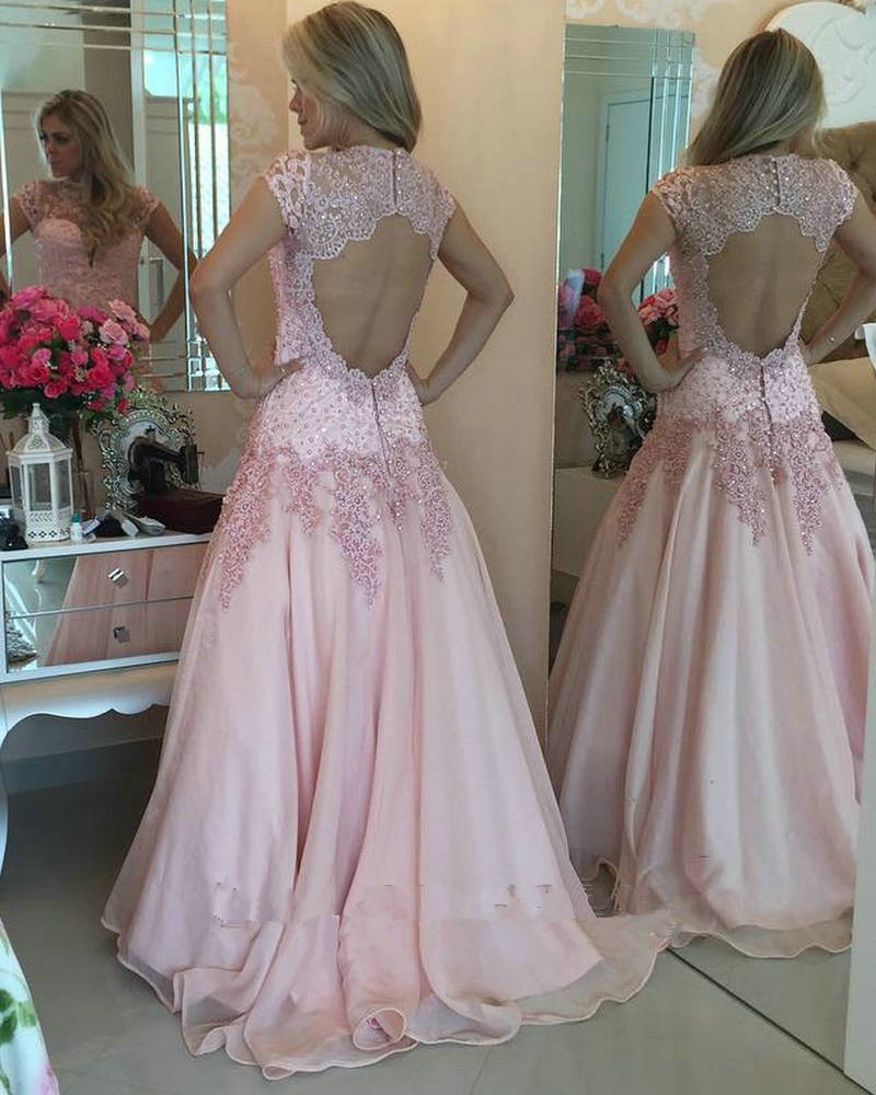 vestidos de fiesta long Pink prom dresses 2016 Short Sleeve High Neck...