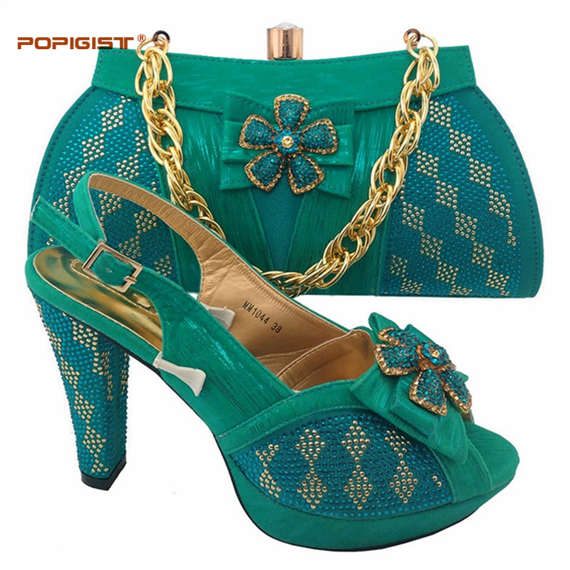 Teal Color African Shoes And Bag Set For Wedding Party