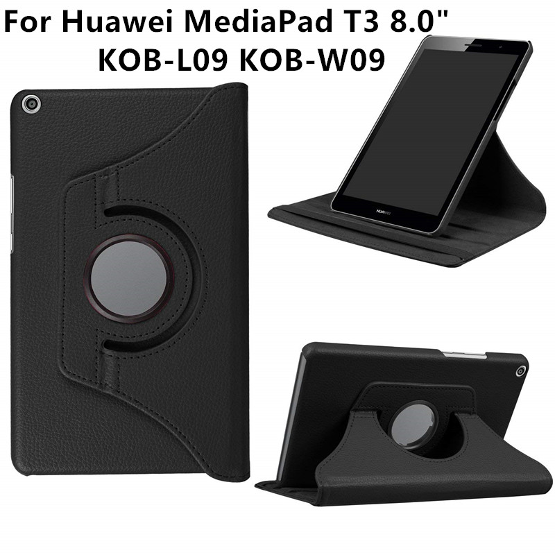 360 Degree Rotating PU Leather Case For Huawei Mediapad T3 8.0 Honor Play Pad 2 KOB-L09 KOB-W09 Tablet Funda Cover