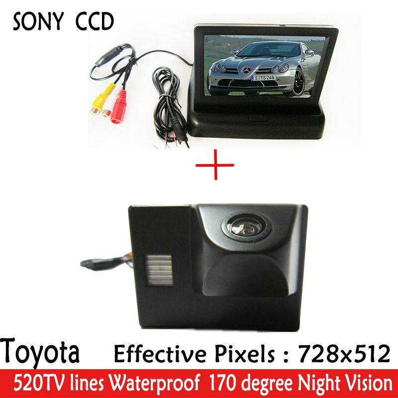 Parking 4.3 'voiture miroir moniteur + CCD HD LED Vision nocturne 170 voiture vue arrière caméra pour TOYOTA Land Cruiser LC 100 120 4500 4700