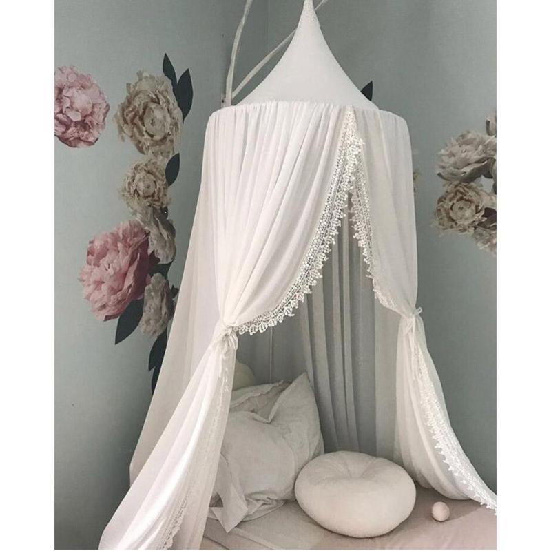 1PC Kids Boys Girls Princess Canopy Bed Valance Curtain Round Dome Hanging Mosquito Net Moustiquaire Zanzariera Home Klamboe