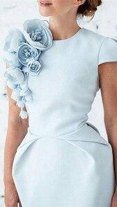 Image 5 - Vestido de noche Formal para mujer, gorro nuevo, mangas cortas, azul claro, mangas cortas, 2020 Vestido de fiesta de graduación