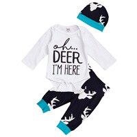 Fashion Infant Romper Cotton Cute Babys Autumn Outfit Long Sleeve T Shirt Tops Pants Hat 3pcs