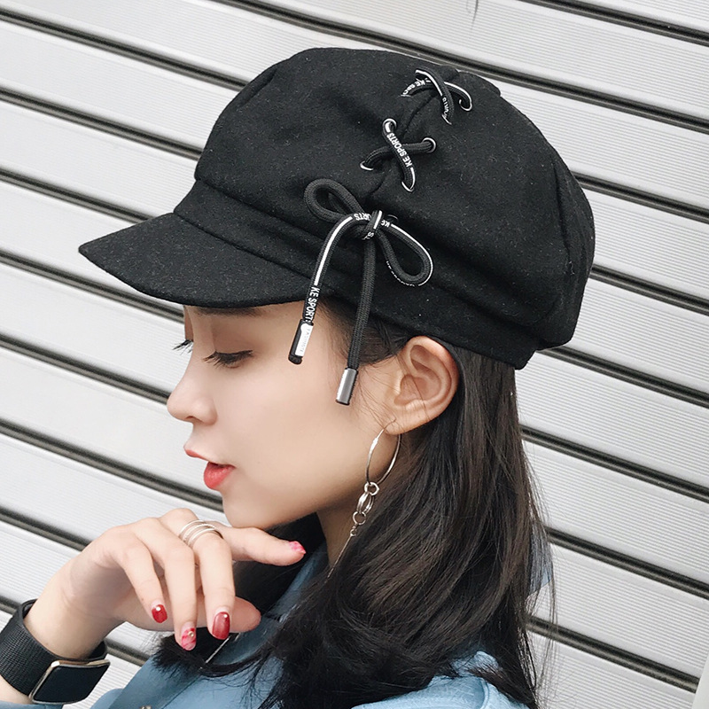Newly Autumn Winter Artist Hat For Women Girls Korea Version Vintage Retro Beret With Shoeslace Newsboy Cap Octagonal Hat