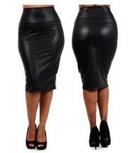6XL PLUS BIG SIZE Black Office Skirt women Faux Leather High Waist Below Knee Pencil  Long Sexy PU Skirt